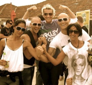 Me, Grant Smillie, Jules Lund, MK and Natalie Frid, all showing off our guns!